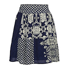 Buy Fat Face Dotty Floral Patchwork Skirt, Indigo Online at johnlewis.com