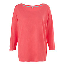 Buy Jigsaw Slub Dropped Shoulder T-Shirt, Coral Online at johnlewis.com