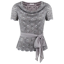 Buy Jacques Vert Petite Stretch Lace Top, Light Brown Online at johnlewis.com