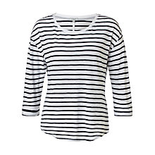 Buy Jigsaw Foundation Slub Stripe 3/4 Sleeve T-Shirt, Navy Online at johnlewis.com