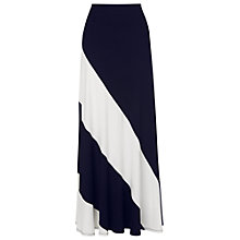 Buy Phase Eight Kay Diagonal Block Maxi Skirt, Navy/Ivory Online at johnlewis.com