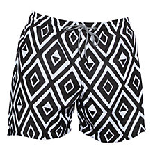 Buy Okun Ali Kuba Diamond Print Swim Shorts, Black/White Online at johnlewis.com