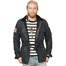 Buy Denim & Supply Ralph Lauren Motorbike Jacket, Black Online at johnlewis.com