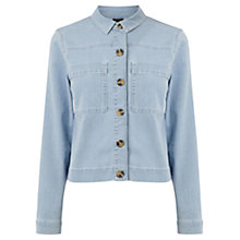 Buy Warehouse Cropped Shirt Jacket, Light Wash Denim Online at johnlewis.com