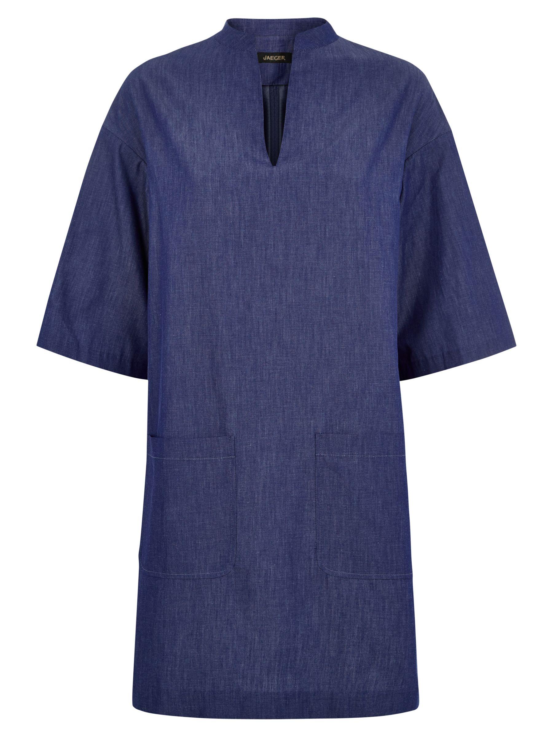 jaeger short sleeved tunic dress chambray, jaeger, short, sleeved, tunic, dress, chambray, 10 14 16 12 18 8 6, edition magazine, blue day, fashion magazine, denim luxe, women, womens dresses, 1853645
