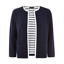 Buy Jaeger Double Face Knit Jacket, Navy/Ivory Online at johnlewis.com