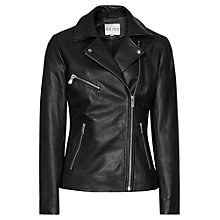 Buy Reiss Lillia Leather Biker Jacket, Black Online at johnlewis.com