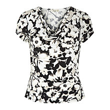 Buy Precis Petite Pansy Print Jersey Top, Black/White Online at johnlewis.com