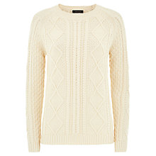 Buy Jaeger Cotton Jumper, Antique White Online at johnlewis.com