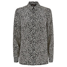 Buy Jaeger Silk Leopard Shirt, Black/White Online at johnlewis.com