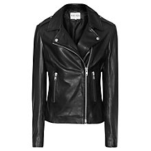 Buy Reiss Virna Leather Biker Jacket, Black Online at johnlewis.com