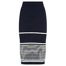 Buy Jaeger Striped Wool Skirt, Navy/White Online at johnlewis.com