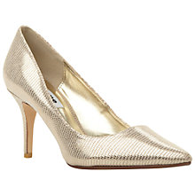 Buy Dune Alina Pointed Toe Court Shoes, Champagne Reptile Online at johnlewis.com