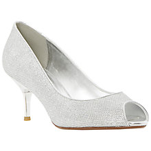 Buy Dune Delia Peep Toe Kitten Court Shoes, Silver Online at johnlewis.com