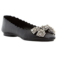 Buy Dune Harra Diamante Bow Leather Pumps, Black Online at johnlewis.com