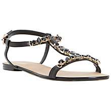 Buy Dune Natallie Jewel Embellished T-Bar Leather Sandals, Black Online at johnlewis.com