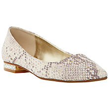 Buy Dune Abbie Jewel Heel Pointed Toe Reptile Shoes, Grey Online at johnlewis.com