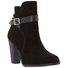Buy Dune Quill Buckle Detail Suede Ankle Boots, Black Online at johnlewis.com