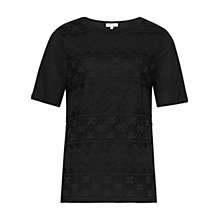 Buy Reiss Dentelle Lace Detail Top, Black Online at johnlewis.com