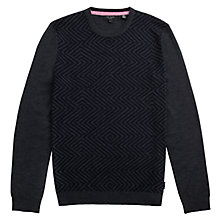 Buy Ted Baker Ziggo Oversized Zigzag Sweatshirt, Charcoal Online at johnlewis.com