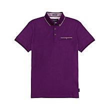 Buy Ted Baker Lotuz Knitted Collar Polo Shirt, Purple Online at johnlewis.com