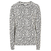 Buy Reiss Rhodes Textured Jumper, Black/Cream Online at johnlewis.com