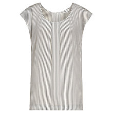 Buy Reiss Leigh Silk Stripe Cap Sleeve Top, Blue Online at johnlewis.com