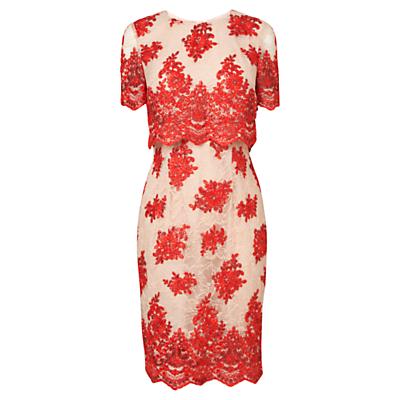 Phase Eight Ariel Lace Dress, Geranium/Beige