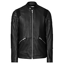 Buy Reiss Vivaldi Leather Biker Jacket, Black Online at johnlewis.com