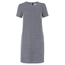 Buy Jigsaw Geo Print Silk Dress, Navy Online at johnlewis.com
