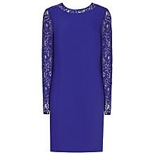 Buy Reiss Cersei Lace Sleeve Shift Dress, Ocean Blue Online at johnlewis.com