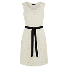 Buy Precis Petite Lace A-Line Belted Dress, Cream Online at johnlewis.com