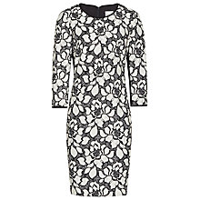 Buy Reiss Floral Bonded Dress, Black/White Online at johnlewis.com