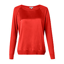 Buy Jigsaw Silk Front Raglan Top, Flame Online at johnlewis.com