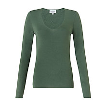 Buy Jigsaw Silk Blend V-neck Jumper, Moss Online at johnlewis.com