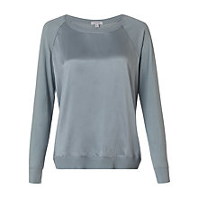 Buy Jigsaw Silk Front Raglan Top, Sage Online at johnlewis.com