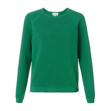 Buy Jigsaw Ottoman Zipped Jumper, Teal Online at johnlewis.com