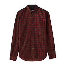 Buy Jigsaw Check Needle Cord Slim Button Down Shirt, Red Online at johnlewis.com