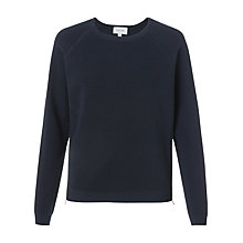 Buy Jigsaw Ottoman Zipped Jumper, Navy Online at johnlewis.com