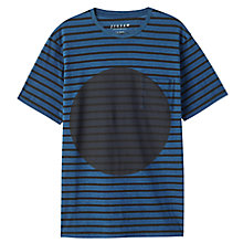 Buy Jigsaw Circle Print Striped T-Shirt, Indigo Online at johnlewis.com