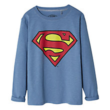 Buy Mango Kids Boys' Superman Superhero Long-Sleeve T-Shirt, Blue Online at johnlewis.com