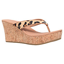 Buy UGG Natassia Wedge Heeled Toe Post Sandals, Chestnut Leopard Pony Online at johnlewis.com