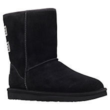 Buy UGG Classic Short Crystal Boots, Black Suede Online at johnlewis.com