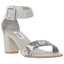 Buy Dune Joye Buckled Block Heel Leather Sandals, Grey Online at johnlewis.com