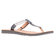 Buy UGG Bria Flat Toe Post Sandals, Silver Leather Online at johnlewis.com