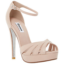Buy Dune Miko Peep Toe Leather Sandals, Blush Online at johnlewis.com