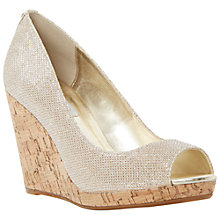 Buy Dune Celia Cork Wedge Peep Toe Court Shoes, Champagne Online at johnlewis.com