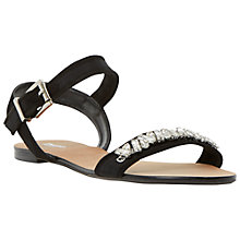 Buy Dune Neeve Jewelled Suede Sandals, Black Online at johnlewis.com