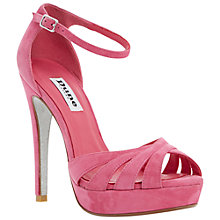 Buy Dune Miko Peep Toe Suede Sandals, Pink Online at johnlewis.com