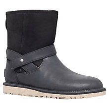 Buy UGG Anali Leather Flat Short Calf Boots, Black Online at johnlewis.com